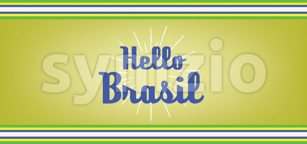 Hello brasil card with colored lines design over dark yellow background, in outlines. Digital vector image Stock Vector