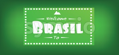 Welcome to brasil card over green background, in outlines. Digital vector image Stock Vector