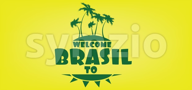 Welcome to brasil card with an island and palm trees over yellow background, in outlines. Digital vector image Stock Vector