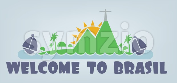 Welcome to brasil card with sun, boat and palm trees over silver background, in outlines. Digital vector image Stock Vector