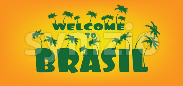 Welcome to brasil card with palm trees over orange background, in outlines. Digital vector image Stock Vector