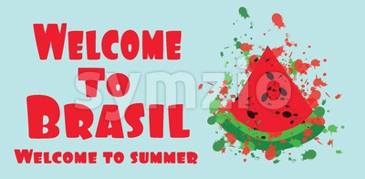 Welcome to brasil card with splash painted melon, over light green background, in outlines. Digital vector image Stock Vector