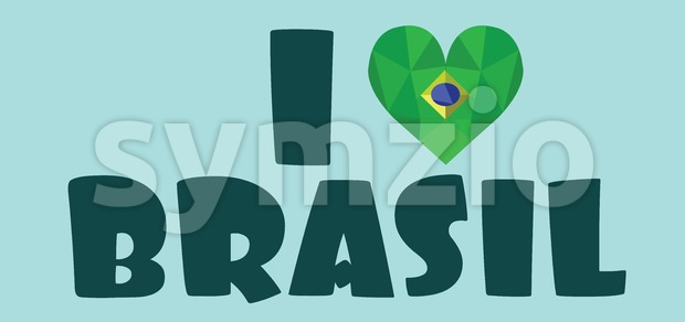 I love brasil card, over light green background, in outlines. Digital vector image Stock Vector