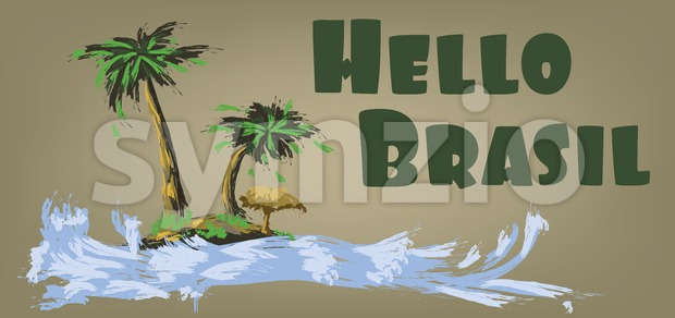 Hello brasil card with palm trees and water design over brown background, in outlines. Digital vector image Stock Vector