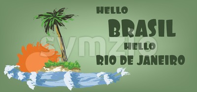 Hello brasil card with palm trees, sun and water design over green background, in outlines. Digital vector image Stock Vector