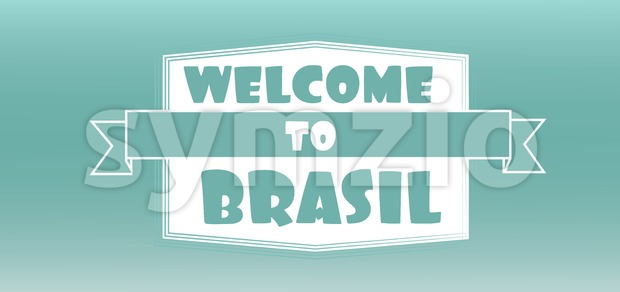 Welcome to brasil card over aqua background, in outlines. Digital vector image Stock Vector