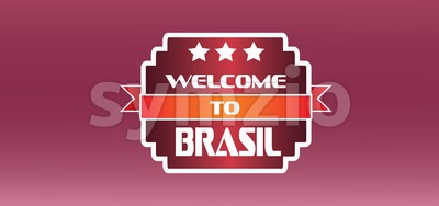 Welcome to brasil card with stars over burgundy background, in outlines. Digital vector image Stock Vector