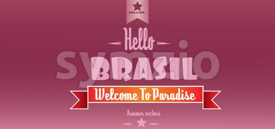 Hello brasil card with stars over burgundy background, in outlines. Digital vector image Stock Vector