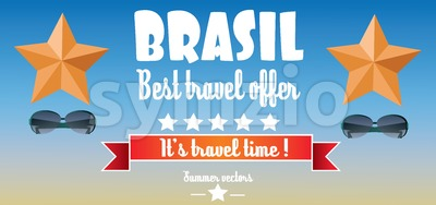 Brasil, best travel offer card with stars and sunglasses over blue background, in outlines. Digital vector image Stock Vector