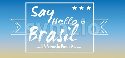 Say hello to Brasil card with stars over blue background, in outlines. Digital vector image Stock Vector