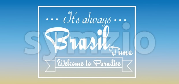 Brasil time card over blue background, in outlines. Digital vector image Stock Vector