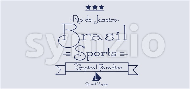 Brasil sports card with stars over silver background, in outlines. Digital vector image Stock Vector