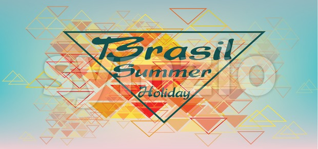 Brasil summer holiday card with triangles over pastel colored background, in outlines. Digital vector image Stock Vector