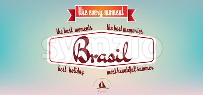 Brasil best holiday card over pastel colored background, in outlines. Digital vector image Stock Vector