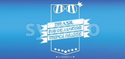 Brasil tropical paradise card with crown and sunglasses over blue background, in outlines. Digital vector image Stock Vector