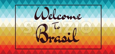 Welcome to Brasil card over colored background with triangles, in outlines. Digital vector image Stock Vector