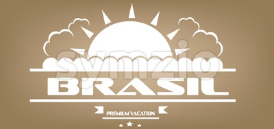 Brasil, premium vacation card with sun and clouds over brown background, in outlines. Digital vector image Stock Vector