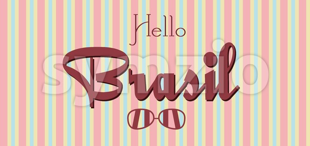 Hello Brasil card with sunglasses over colored lines background, in outlines. Digital vector image Stock Vector
