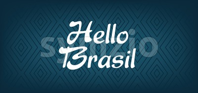 Hello Brasil card over dark blue background with triangles, in outlines. Digital vector image Stock Vector