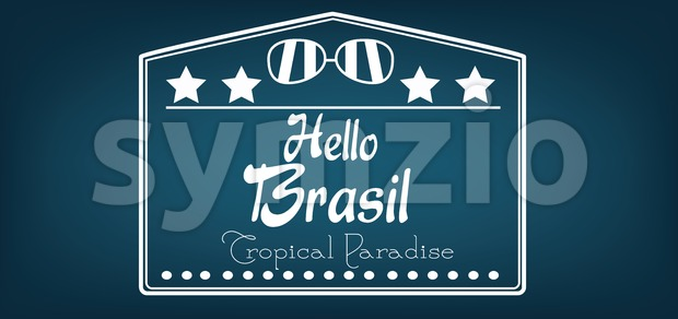 Hello Brasil card with stars and sunglasses over dark blue background, in outlines. Digital vector image Stock Vector
