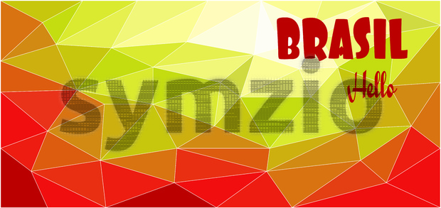 Hello Brasil card over red and yellow colored background with triangles, in outlines. Digital vector image Stock Vector