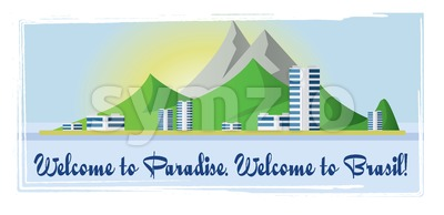 Welcome to Brasil paradise card with mountains and city view over white background, in outlines. Digital vector image Stock Vector