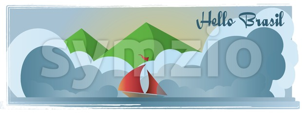Hello Brasi card with mountains, a boat, and sea view over white background, in outlines. Digital vector image Stock Vector