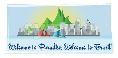 Welcome to Brasil paradise card with mountains, boats and city view over white background, in outlines. Digital vector image Stock Vector
