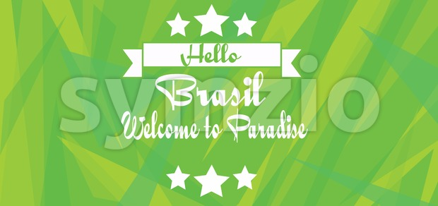 Hello Brasil paradise card with stars over green background with triangles, in outlines. Digital vector image Stock Vector