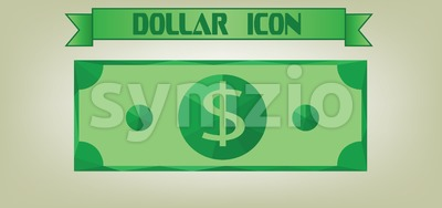 Dollar icon with money design and ribbon, flat style. Digital vector image Stock Vector