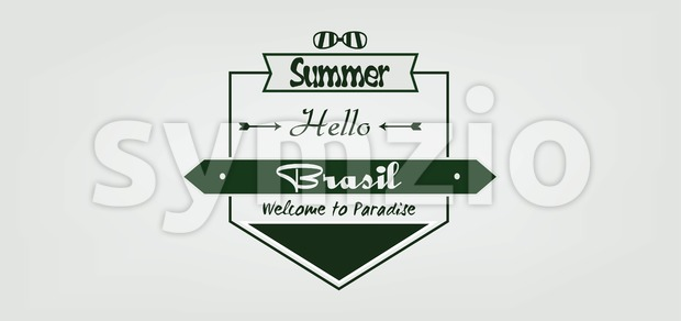 Welcome to Brasil card with sunglasse and arrows over white background, in outlines. Digital vector image Stock Vector