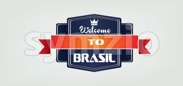 Welcome to Brasil card with crown and ribbon over white background, in outlines. Digital vector image Stock Vector