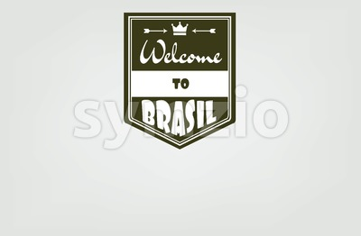 Welcome to Brasil card with crown and arrows over white background, in outlines. Digital vector image Stock Vector