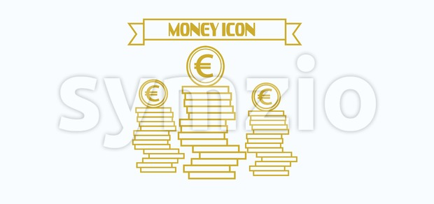 Money icon with euro currency symbol with coins over white background, in outlines. Digital vector image Stock Vector