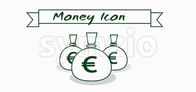 Money icon with euro currency symbol with ribbon over white background, in outlines. Digital vector image Stock Vector