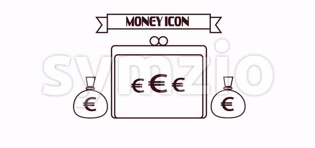 Money icon with euro and dollar currency symbols with a wallet over white background, in outlines. Digital vector image Stock Vector