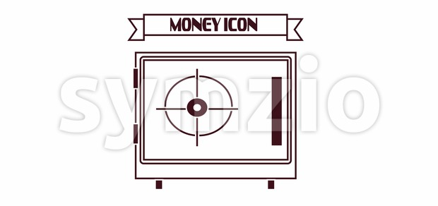 Money icon with a safe design over white background, in outlines. Digital vector image Stock Vector