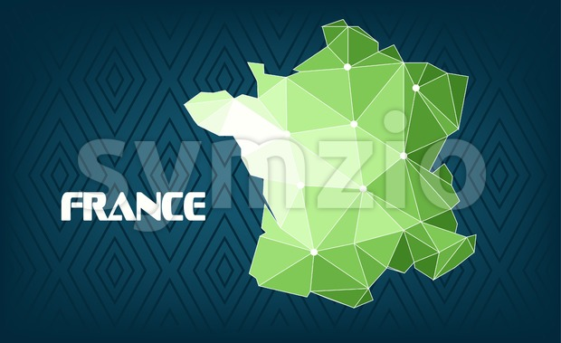 France country map design with green and white triangles over dark blue background with squares. Digital vector image Stock Vector