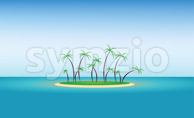 Abstract island design with green palm trees and blue water. Digital vector image Stock Vector