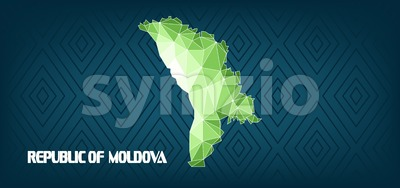 Republic of Moldova country map design with green and white triangles over dark blue background with squares. Digital vector image Stock Vector