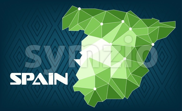 Spain country map design with green and white triangles over dark blue background with squares. Digital vector image Stock Vector