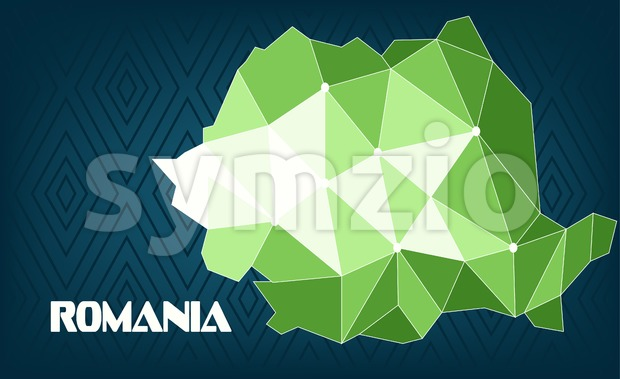 Romania country map design with green and white triangles over dark blue background with squares. Digital vector image Stock Vector
