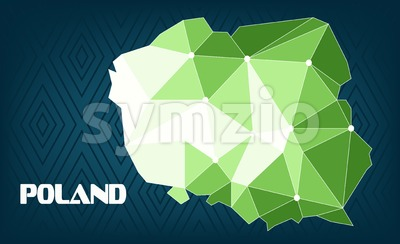 Poland country map design with green and white triangles over dark blue background with squares. Digital vector image Stock Vector