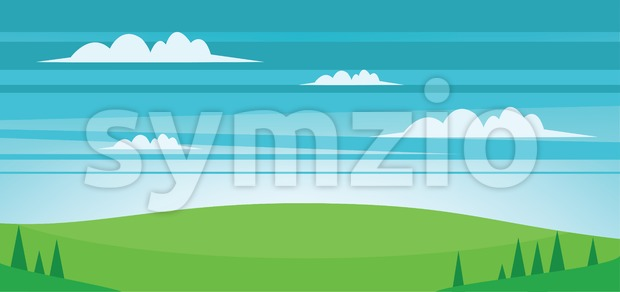 Abstract landscape with green fields, trees and clouds. Digital vector image