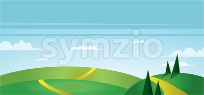 Abstract landscape with green fields, trees, paths and clouds. Digital vector image Stock Vector