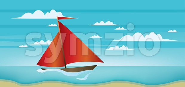 Abstract landscape with red boat, blue sea, white clouds and seashore. Digital vector image