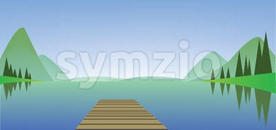 Abstract landscape with a river, wooden bridge and green fields. Digital vector image Stock Vector