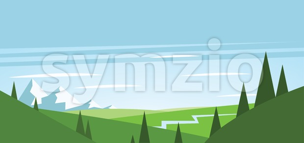 Abstract landscape with green fields, trees, river and mountains with snow. Digital vector image