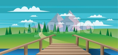Abstract landscape with a river, wooden bridge and green fields with mountains. Digital vector image Stock Vector