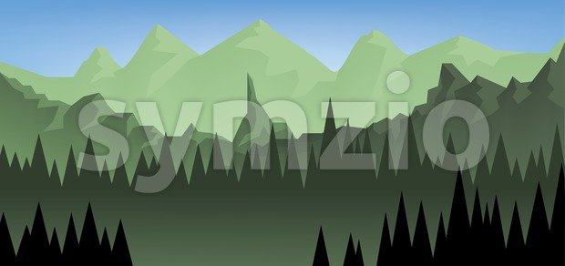 Abstract landscape with a dark forest and green fields with mountains. Digital vector image Stock Vector